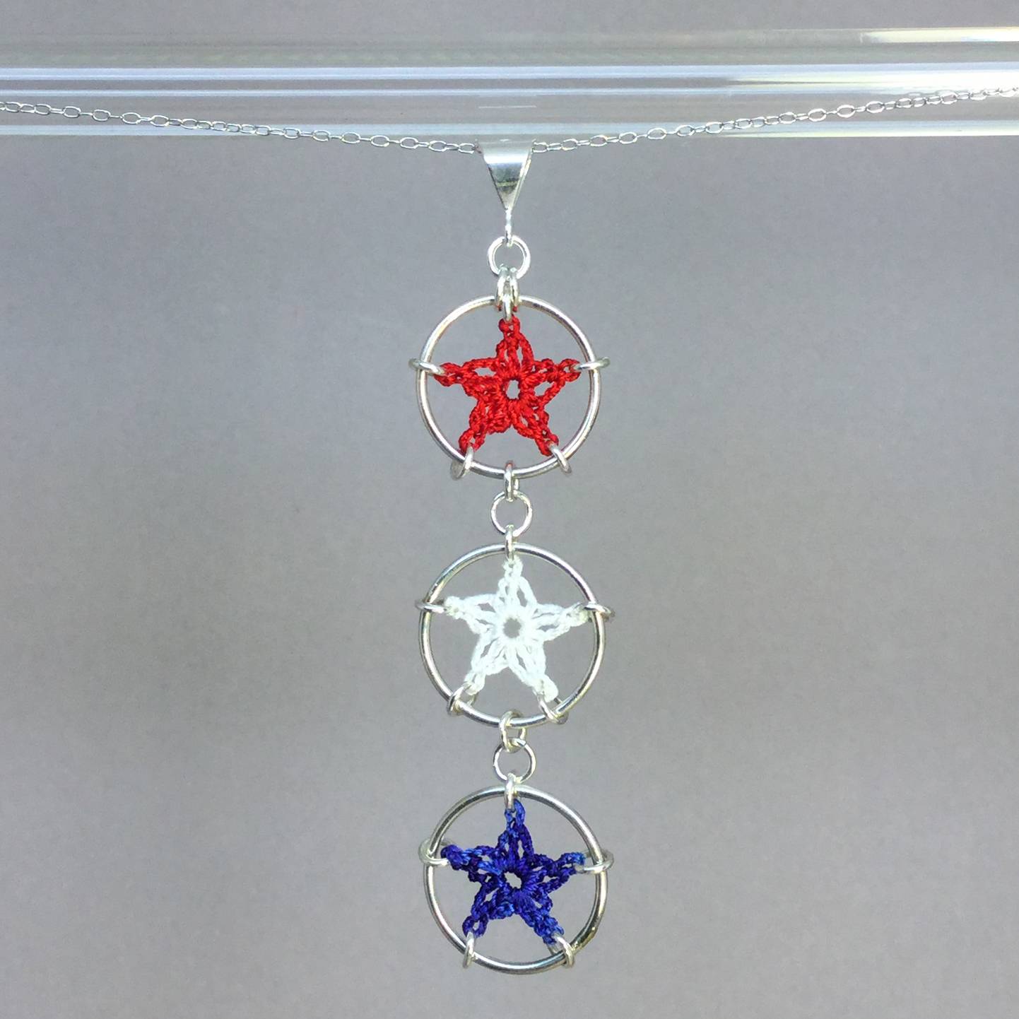 Stars necklace, silver, red white blue