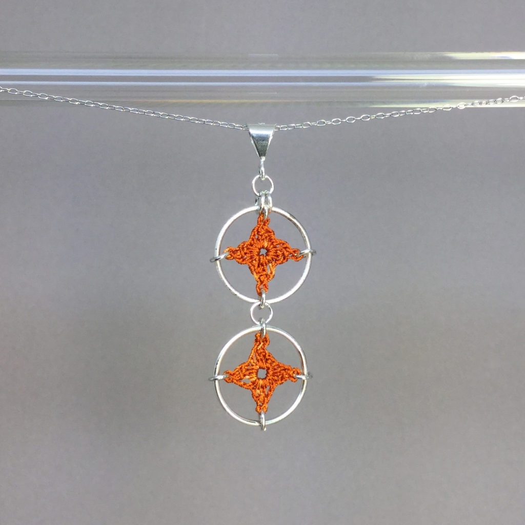 Spangles 2 necklace, silver, orange thread