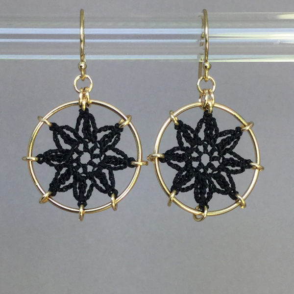 Compass Rose earrings, gold, black thread
