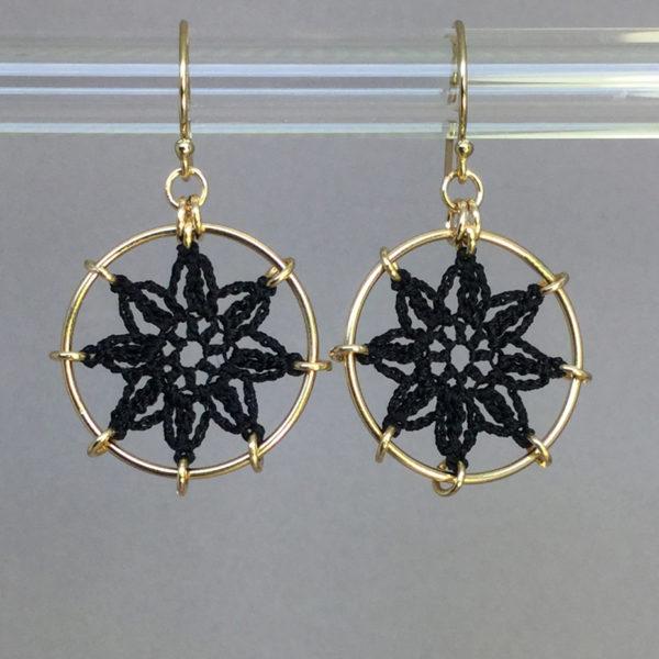 Compass Rose earrings, gold, black thread