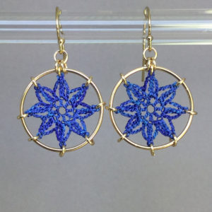 Compass Rose earrings, gold, blue thread
