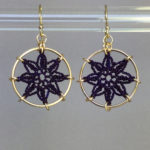 Compass Rose earrings, gold, purple thread