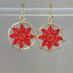 Compass Rose earrings, gold, red thread