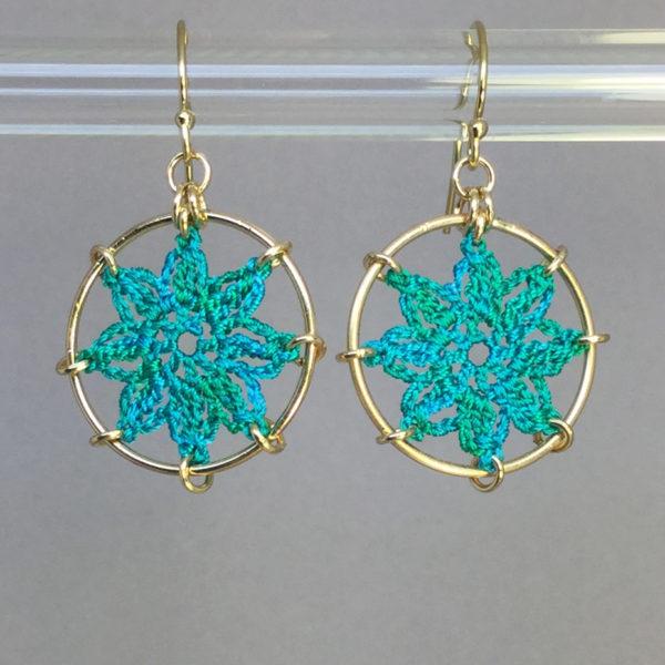 Compass Rose earrings, gold, shamrock green thread