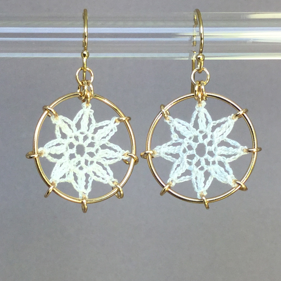 Compass Rose earrings, gold, white thread