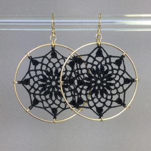 Mandala earrings, gold, black thread
