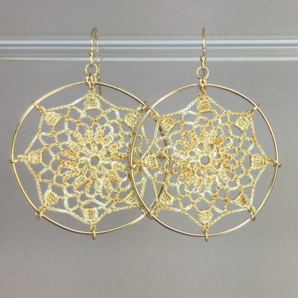 Mandala earrings, gold, french vanilla thread