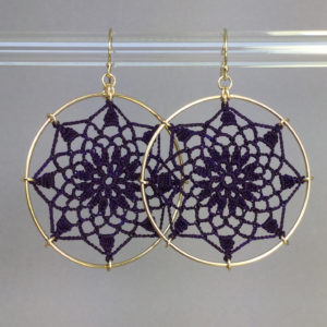 Mandala earrings, gold, purple thread