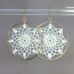 Mandala earrings, gold, white thread
