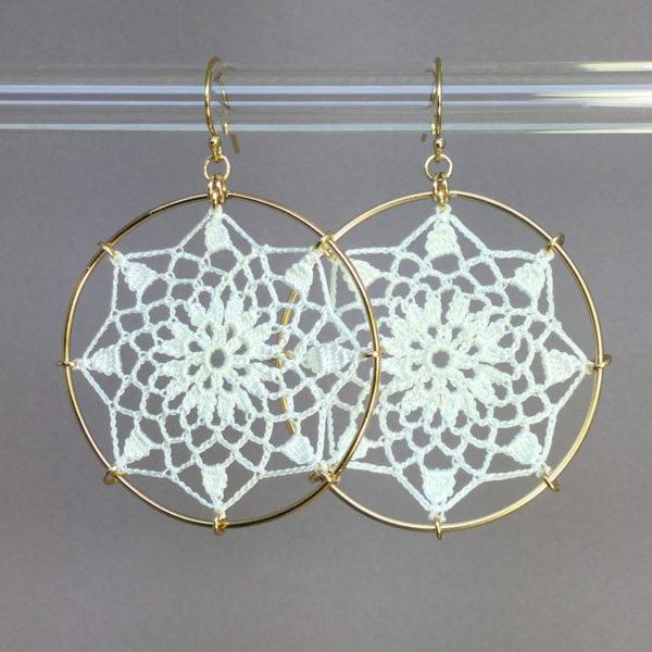 Mandala earrings, gold, white thread