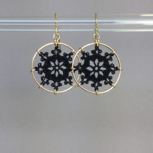 Nautical earrings, gold, black thread