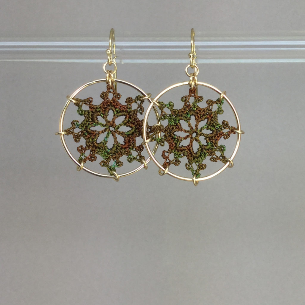 Nautical earrings, gold, camo thread