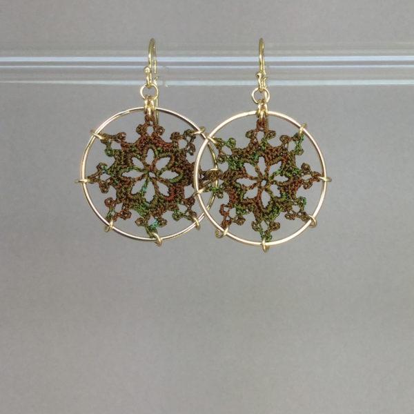 Nautical earrings, gold, camo thread