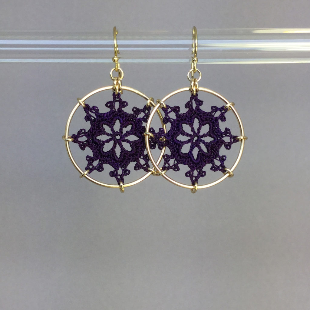 Nautical earrings, gold, purple thread
