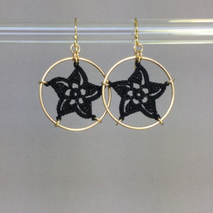 Pinwheel Star earrings, gold, black thread