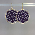 Serendipity earrings, gold, purple thread