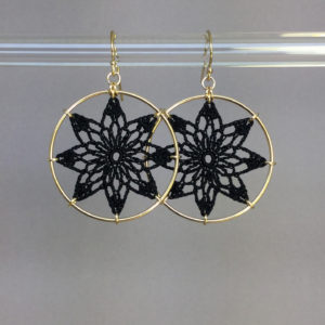 Tavita earrings, gold, black thread
