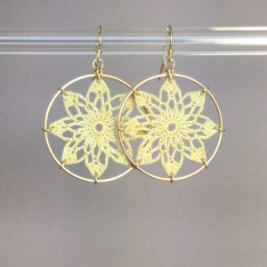 Tavita earrings, gold, ivory thread
