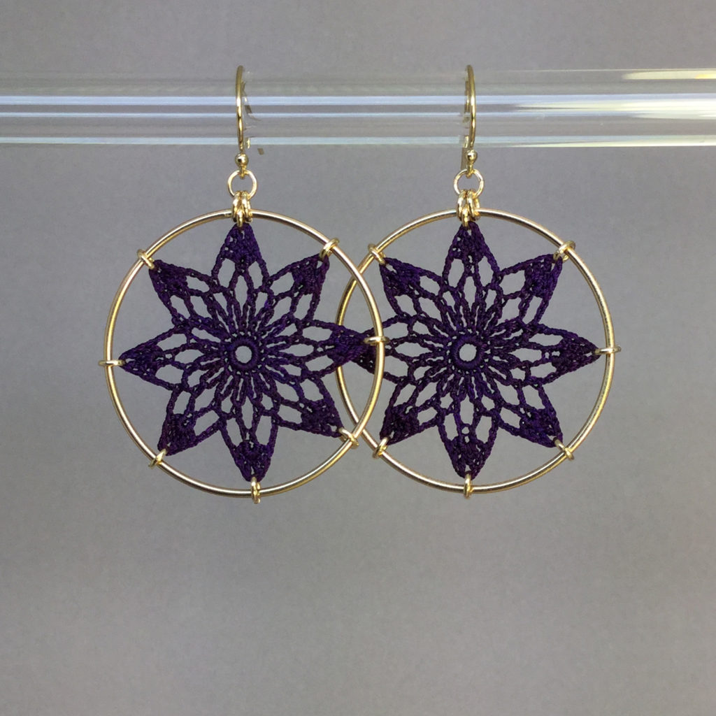 Tavita earrings, gold, purple thread