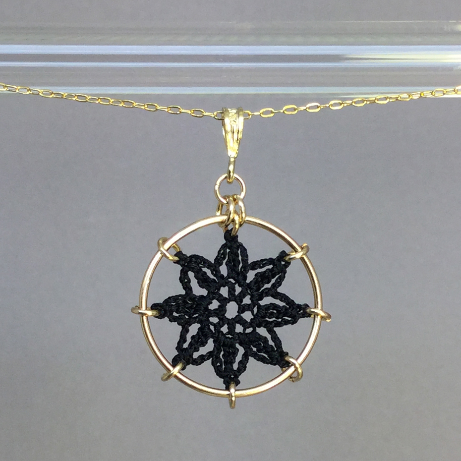 Compass Rose necklace, gold, black thread