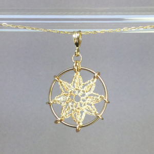 Compass Rose necklace, gold, french vanilla thread