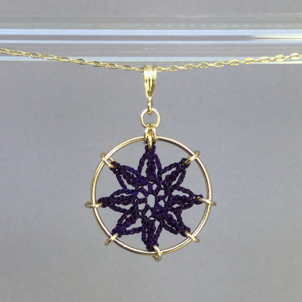 Compass Rose necklace, gold, purple thread