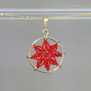 Compass Rose necklace, gold, red thread