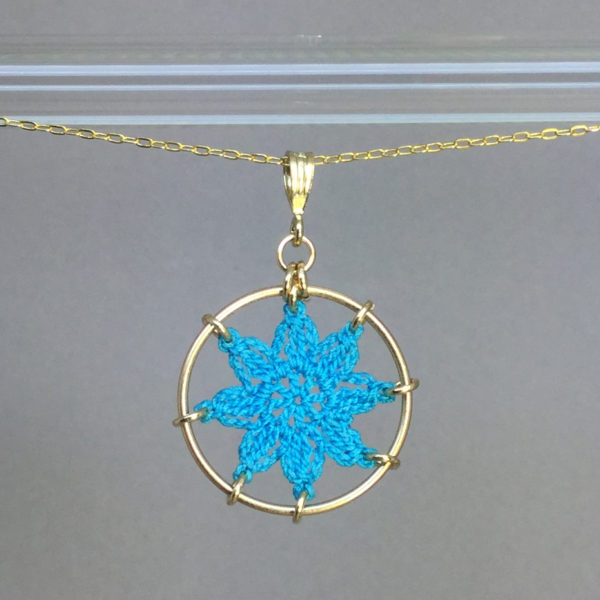 Compass Rose necklace, gold, turquoise thread