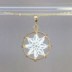 Compass Rose necklace, gold, white thread