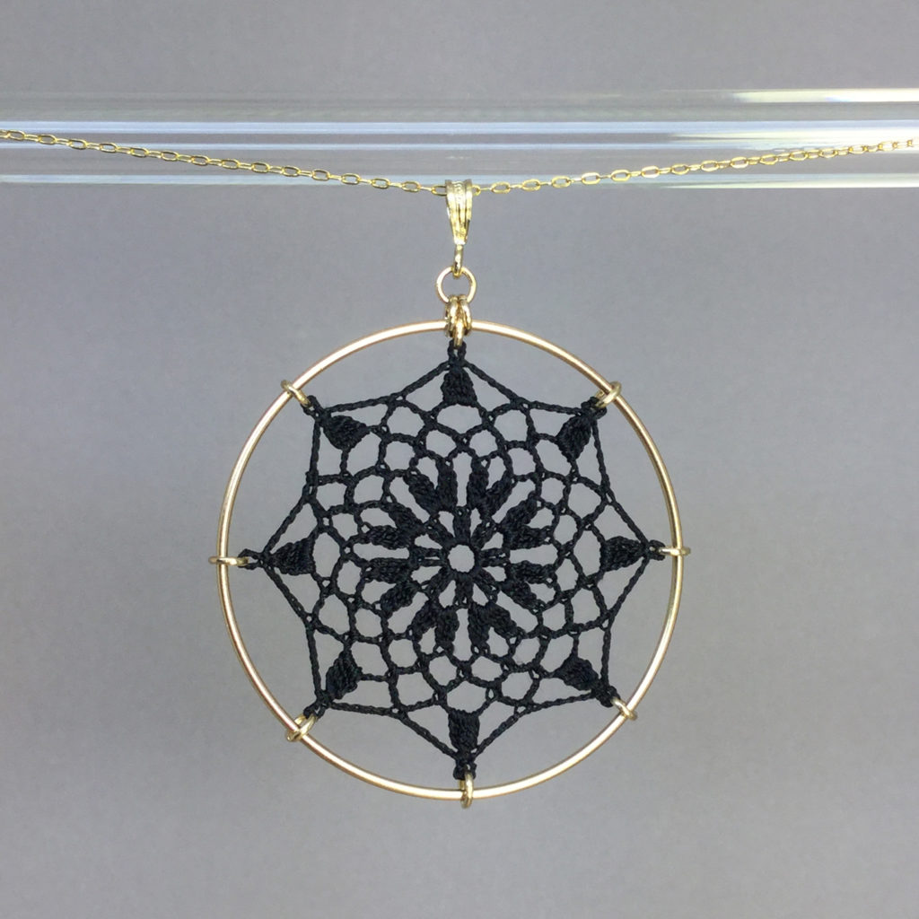 Mandala necklace, gold, black thread