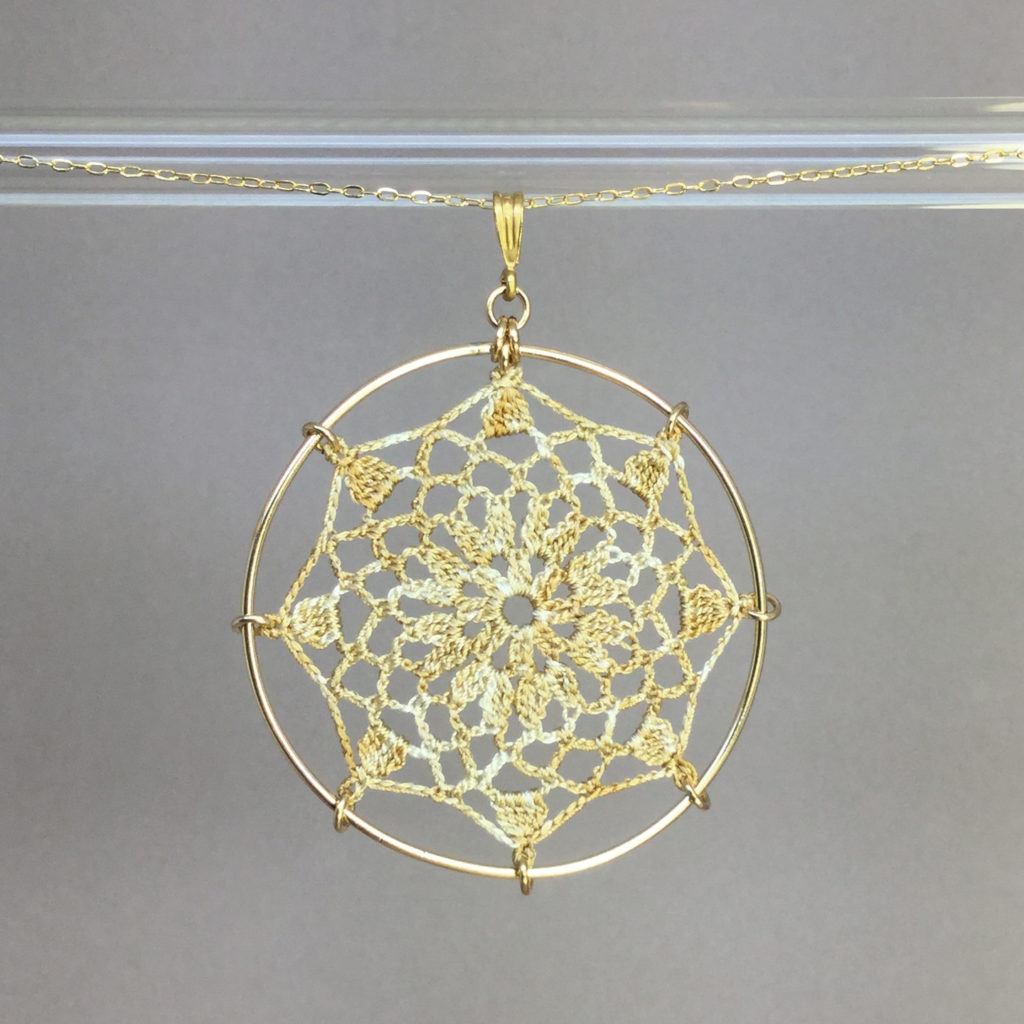 Mandala necklace, gold, french vanilla thread