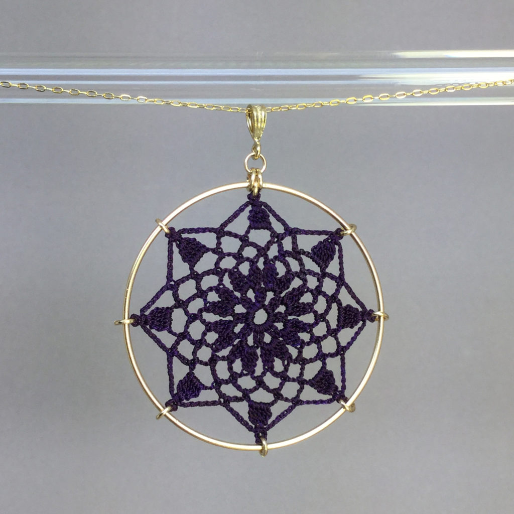 Mandala necklace, gold, purple thread