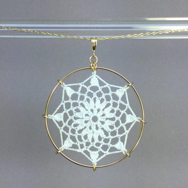 Mandala necklace, gold, white thread