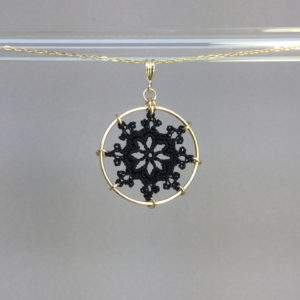 Nautical necklace, gold, black thread