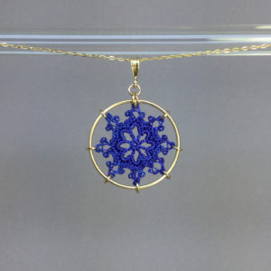 Nautical necklace, gold, blue thread