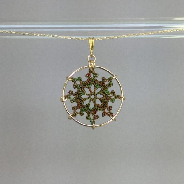 Nautical necklace, gold, camo thread