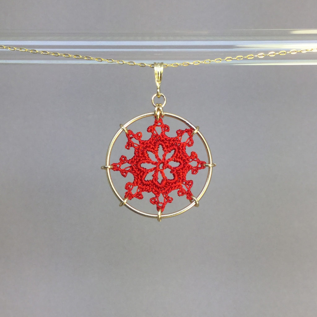 Nautical necklace, gold, red thread