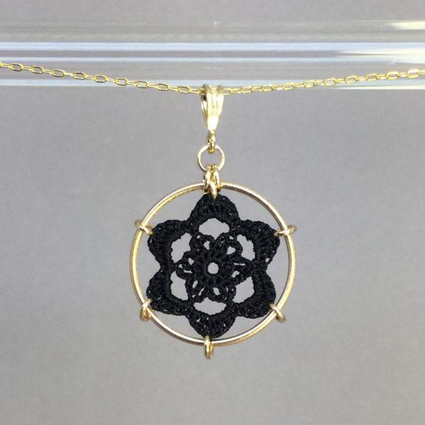 Peony necklace, gold, black thread