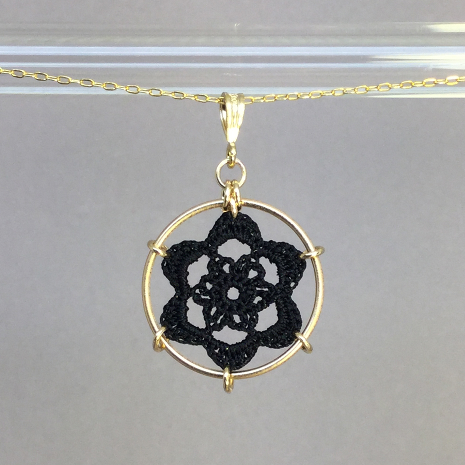 Peony necklace, gold, black thread