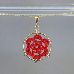 Peony necklace, gold, red thread