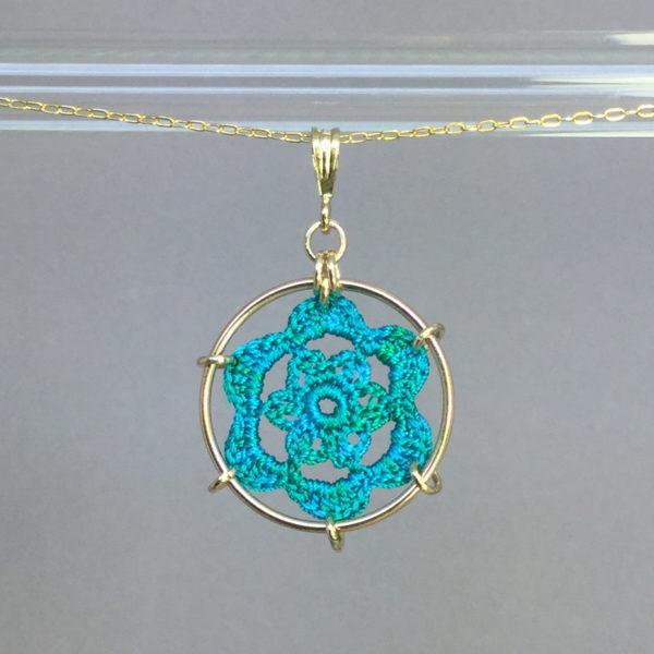 Peony necklace, gold, shamrock green thread
