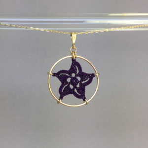 Pinwheel Star necklace, gold, purple thread