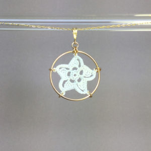 Pinwheel Star necklace, gold, white thread