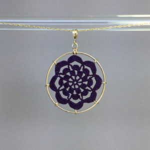 Serendipity necklace, gold, purple thread