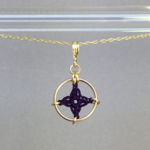 Spangles 1 necklace, gold, purple thread