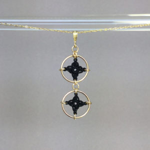 Spangles 2 necklace, gold, black thread