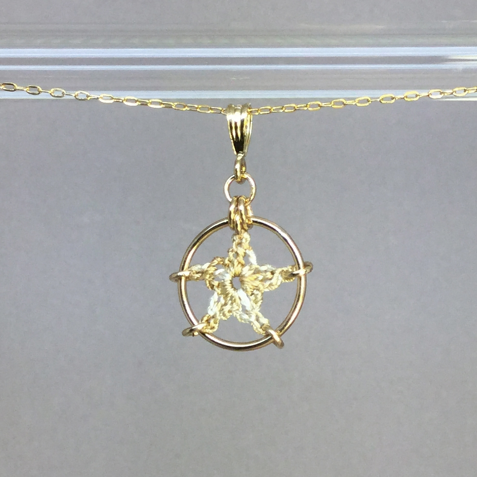Star necklace, gold, french vanilla thread