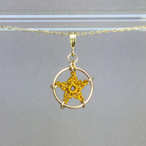 Star necklace, gold, ochre thread