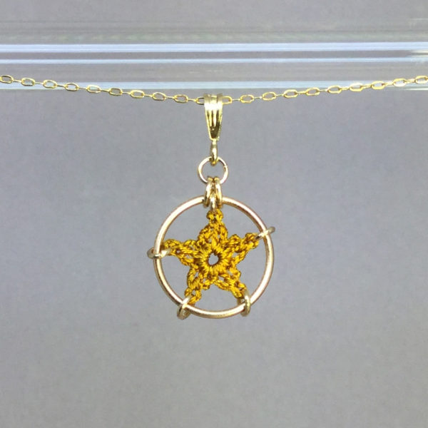 Star necklace, gold, ochre thread