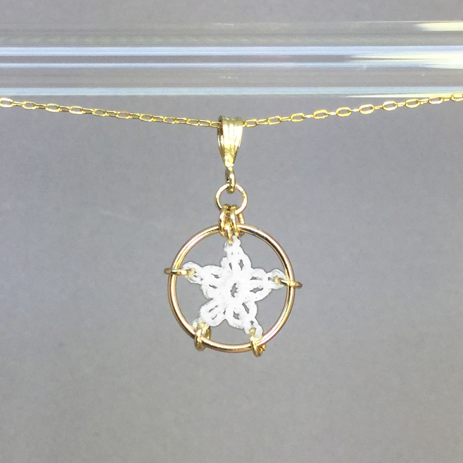 Star necklace, gold, white thread